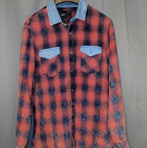 Zara Flannel/Denim collar button down